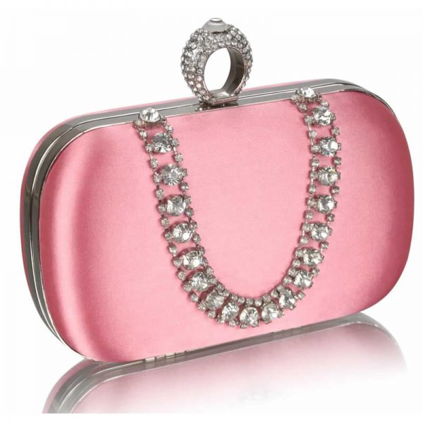 Pink Sparkly Crystal Satin Clutch Purse – LSE00225-1