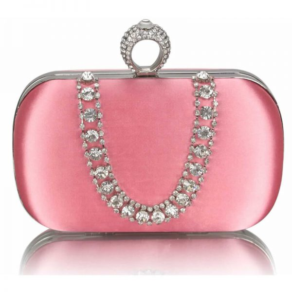 Pink Sparkly Crystal Satin Clutch Purse – LSE00225