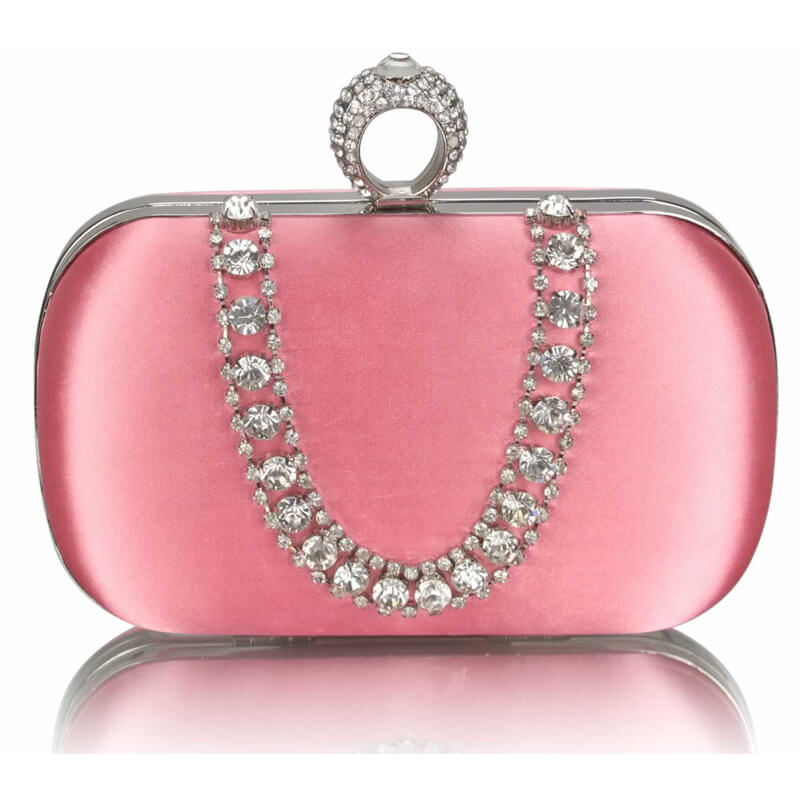 Pink Sparkly Crystal Satin Clutch Purse