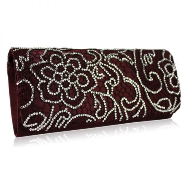 Red Clutch Bag With Diamante Decorative Flower – LSE00138-1