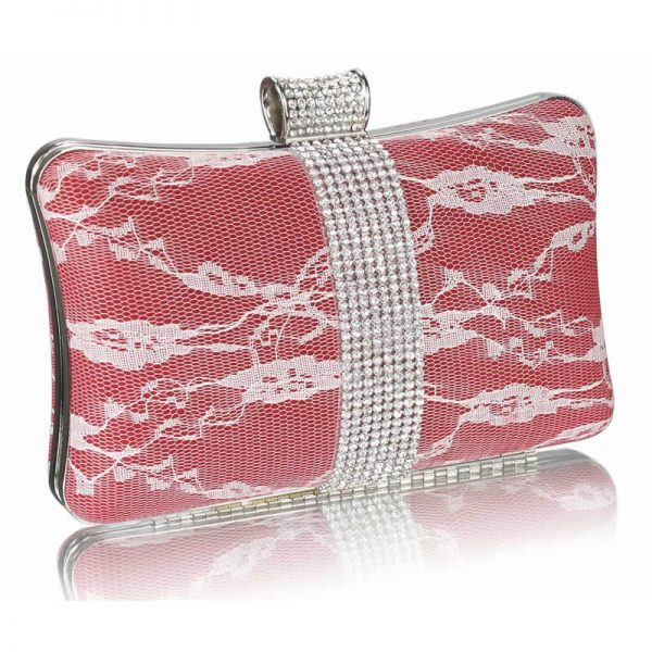 Red Crystal Strip Clutch Evening Bag – LSE00227-1