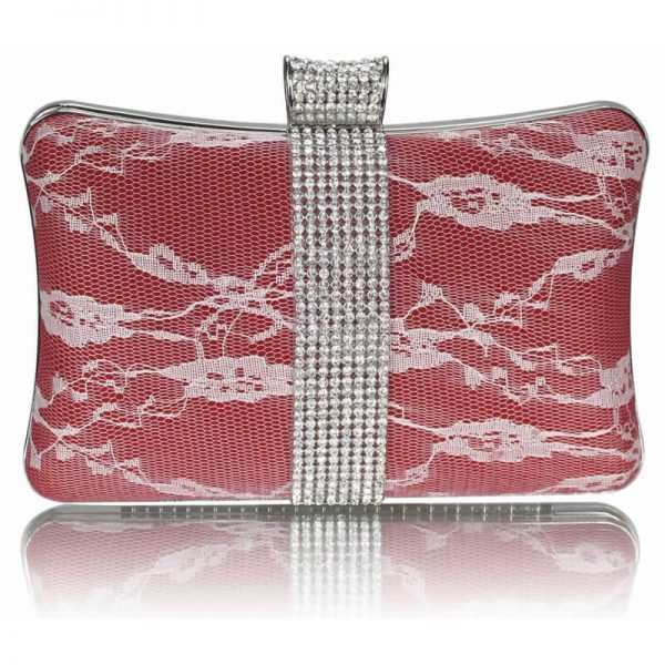 Red Crystal Strip Clutch Evening Bag – LSE00227