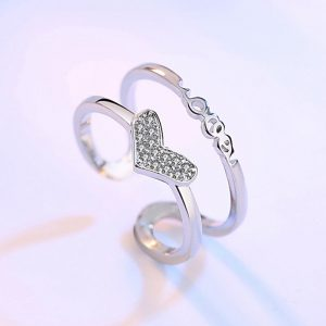 Silver Adjustable Glowing Ring With Diamante Heart Design