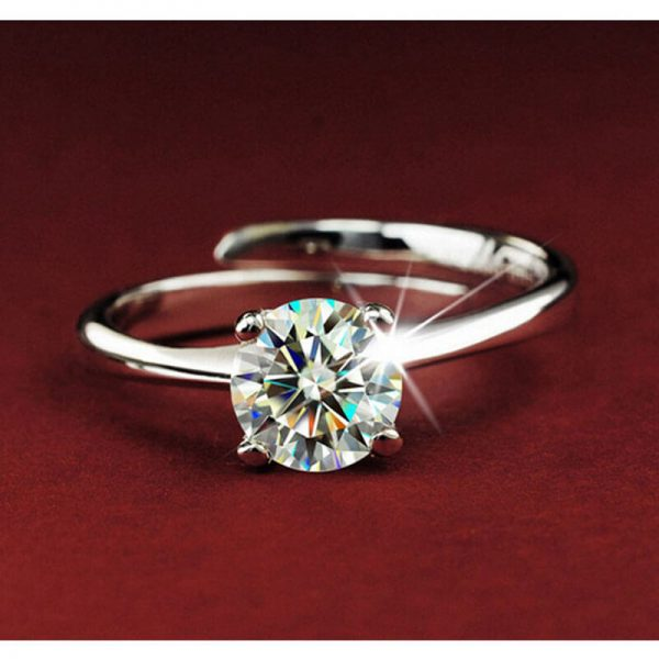 Silver Adjustable Zircon Ring For Her