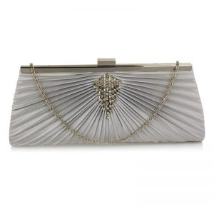 Silver Clutch Bag With Crystal Decoration