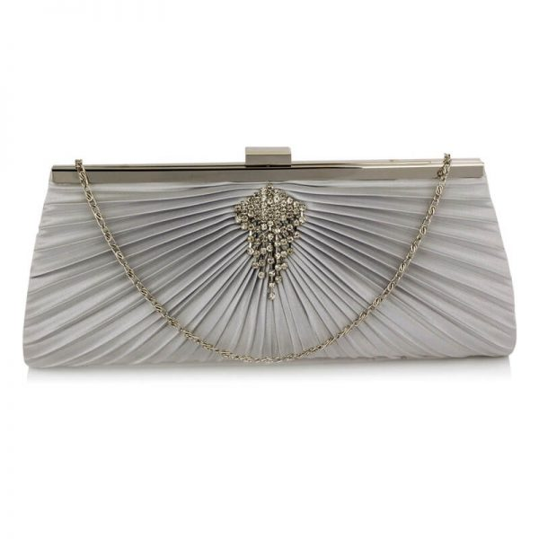 Silver Clutch Bag With Crystal Decoration – LSE00221_1_