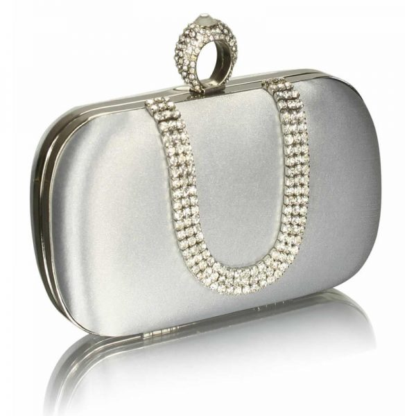 Silver Sparkly Crystal Satin Clutch Purse – LSE00224-1
