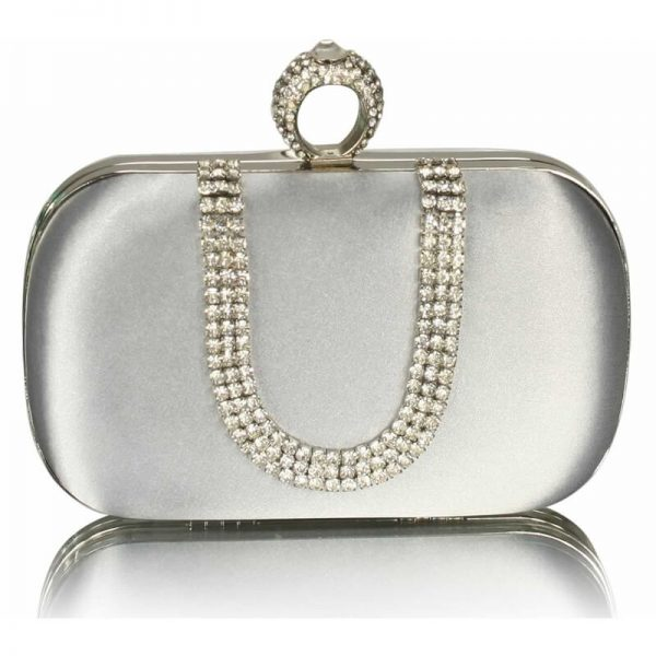 Silver Sparkly Crystal Satin Clutch Purse – LSE00224