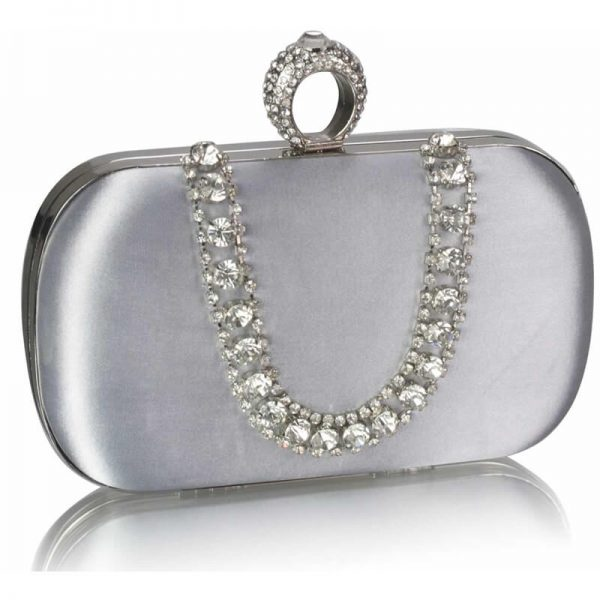 Silver Sparkly Crystal Satin Clutch Purse – LSE00225-1