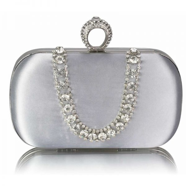 Silver Sparkly Crystal Satin Clutch Purse – LSE00225