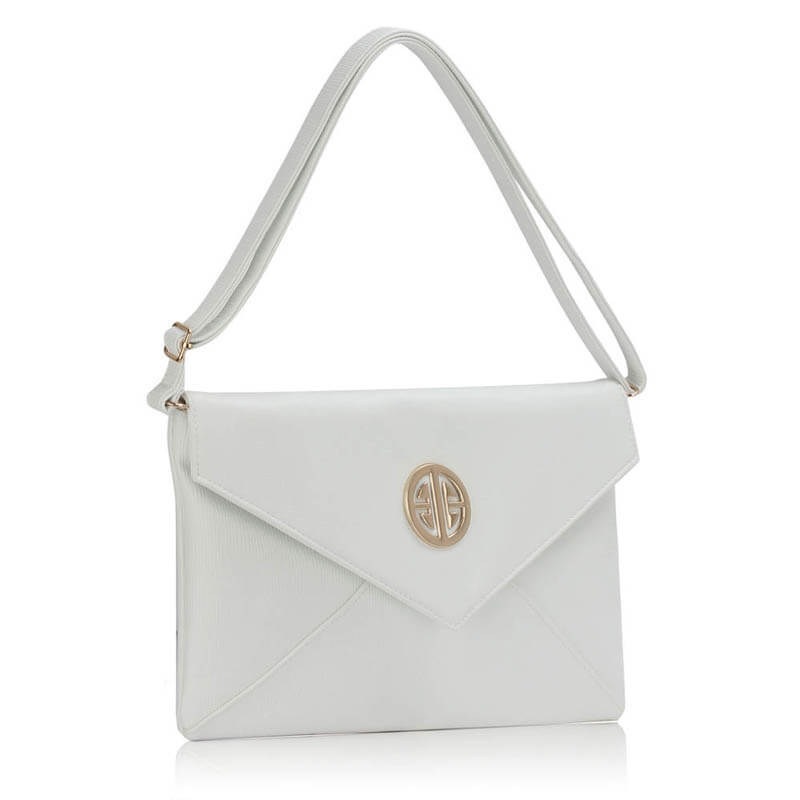 White Large Flap Clutch Purse