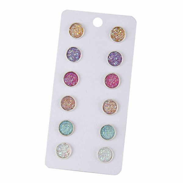 1 6 Pair Stud Earring Set Round – Multi AS36