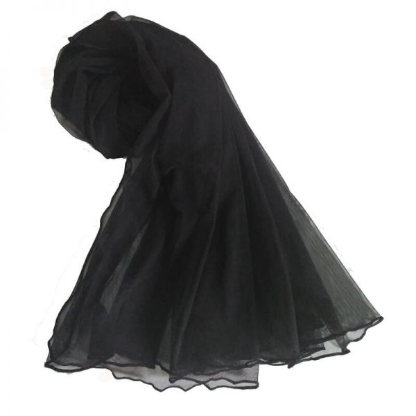1 Black Net Dupatta With Four Sided Piko