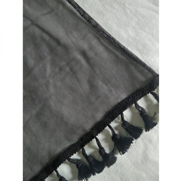 1 Black Net Dupatta With Tassel Lace On Bottoms