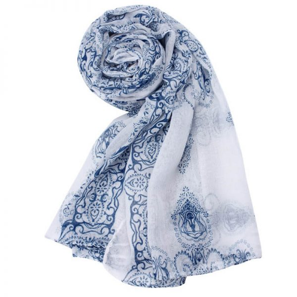1 Blue Voile Material Scarf For Summer ASC44