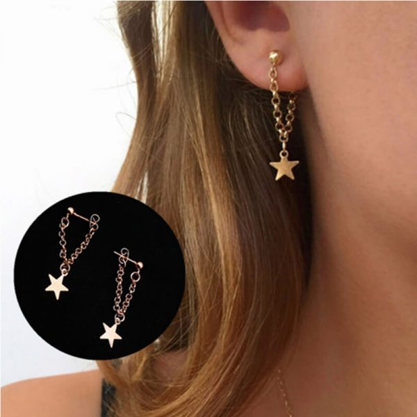 1 Gold Star Drop earring AE75