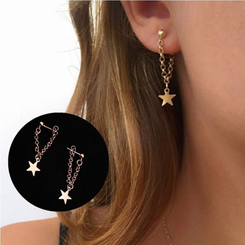 Gold Star Drop earring AE75