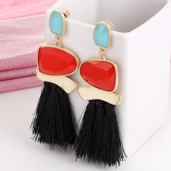 1 Long Tassel Ear ring – Multi AE79