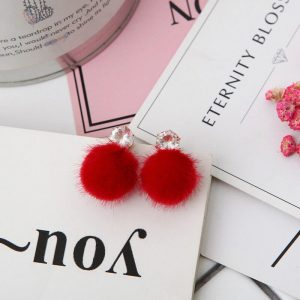 1 Red Fur Ball Earring AE72