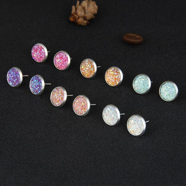 6 Pair Stud Earring Set Round – Multi AS36-