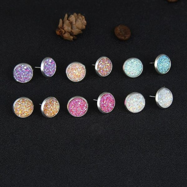 6 Pair Stud Earring Set Round – Multi AS36–