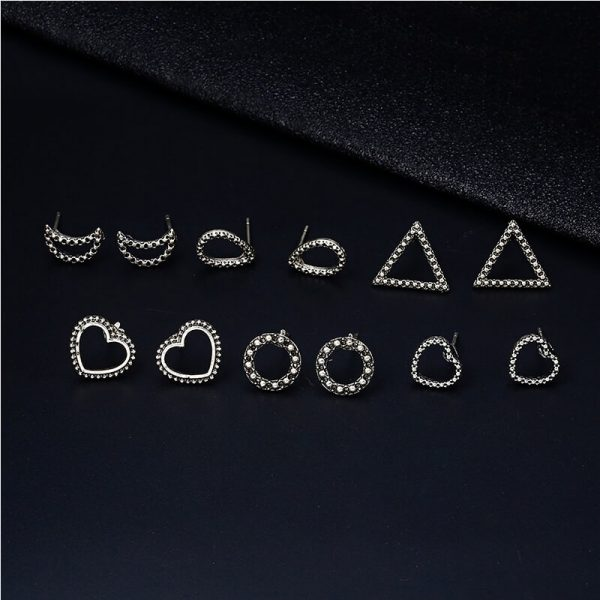 6 Pair Stud Earring Set Various Shapes – Silver AS36-