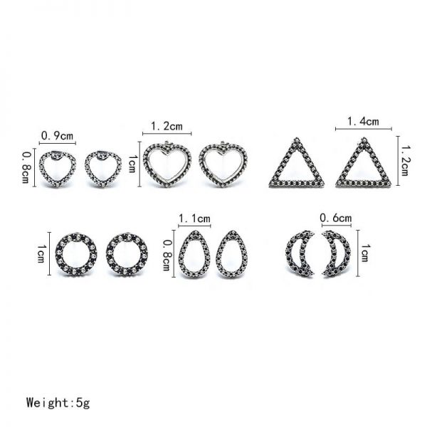 6 Pair Stud Earring Set Various Shapes – Silver AS36–