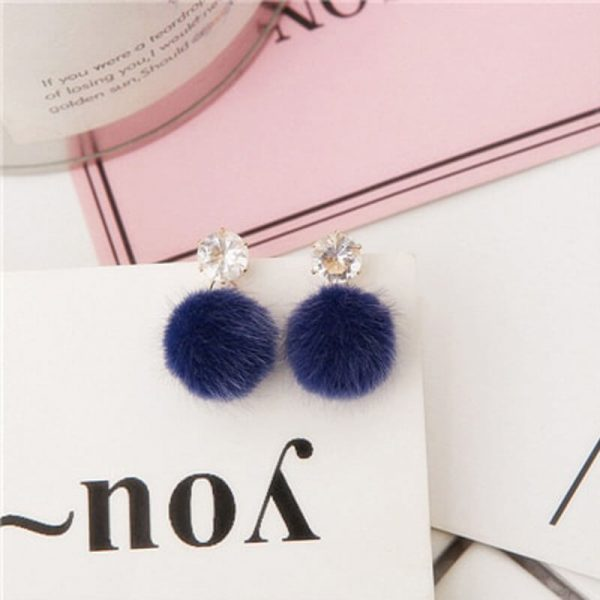 AE73 Blue Fur Ball Earring