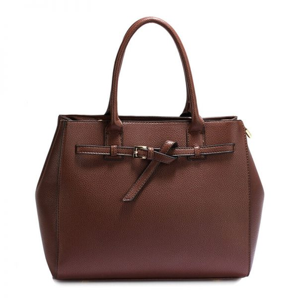 AG00447-Coffee Tote Handbag Features Buckle Belts