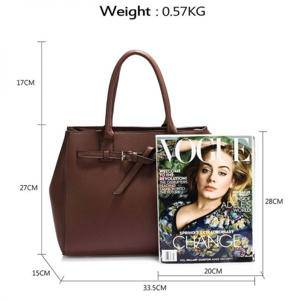 AG00447-Coffee Tote Handbag Features Buckle Belts_2_