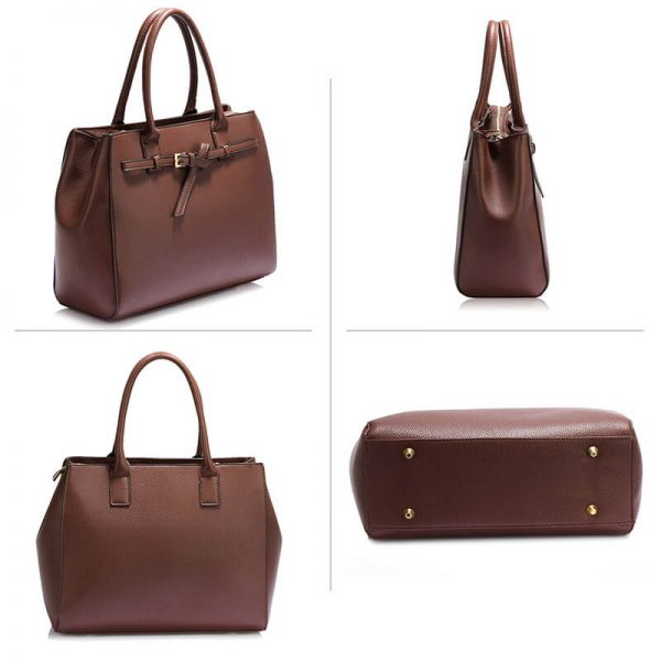 AG00447-Coffee Tote Handbag Features Buckle Belts_3_