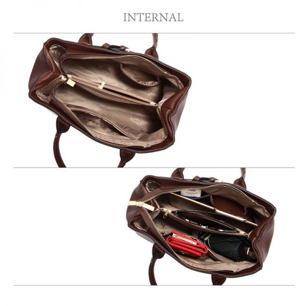 AG00447-Coffee Tote Handbag Features Buckle Belts_4_
