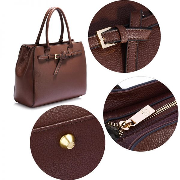 AG00447-Coffee Tote Handbag Features Buckle Belts_5_