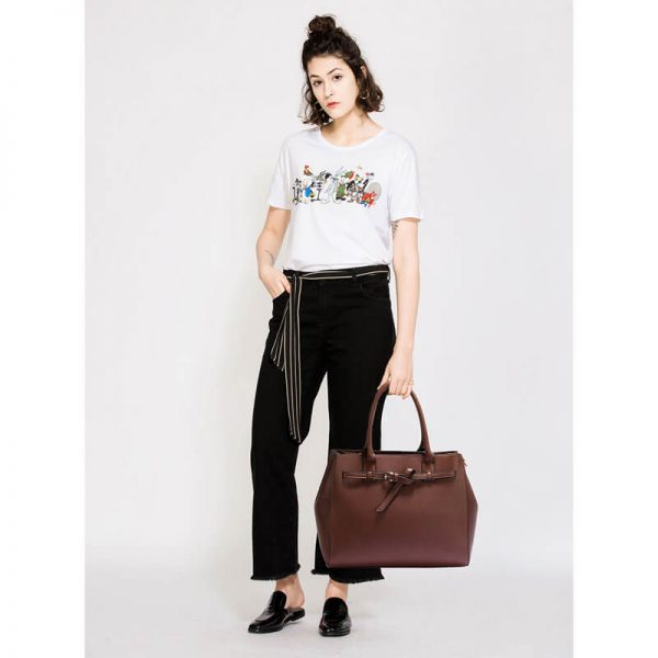 AG00447-Coffee Tote Handbag Features Buckle Belts_6_