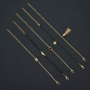 ANK19- 5 Pieces - Anklet Set - Gold and Black-