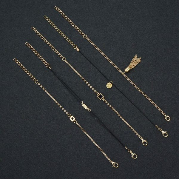 ANK19- 5 Pieces – Anklet Set – Gold and Black-