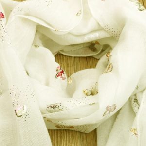 ASC26 Cream Foil Print - Butterfly - Cotton Lawn Scarf