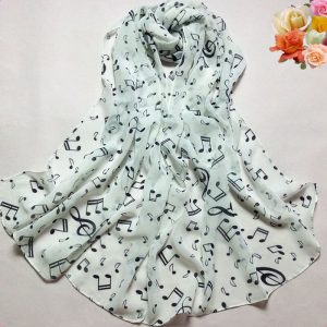 ASC36 Musical Note Printed Chiffon Scarf - White