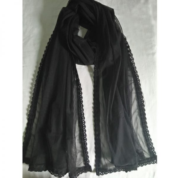 Black Net Dupatta With Lace On 4 sides-