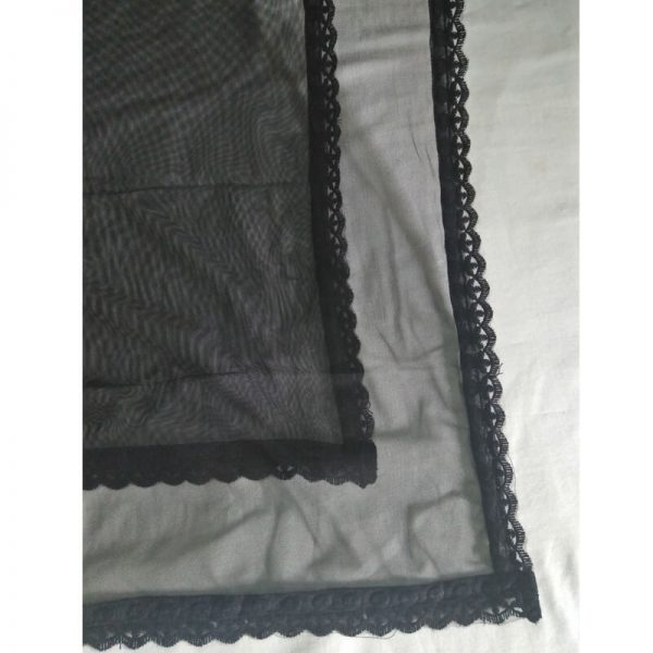 Black Net Dupatta With Lace On 4 sides
