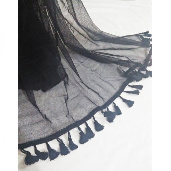 Black Net Dupatta With Tassel Lace On Bottoms-