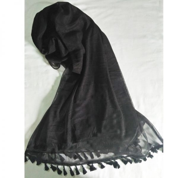 Black Net Dupatta With Tassel Lace On Bottoms–