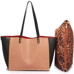 Black Nude Studded Shoulder Handbag