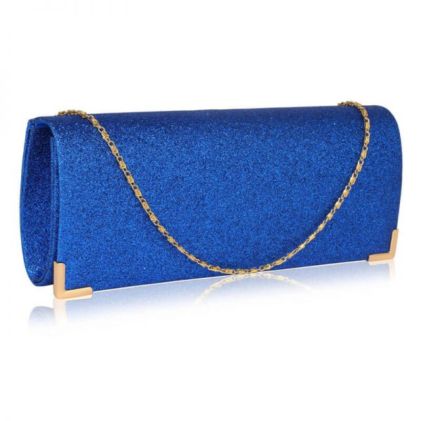 Blue Glitter Clutch Bag LSE00235_