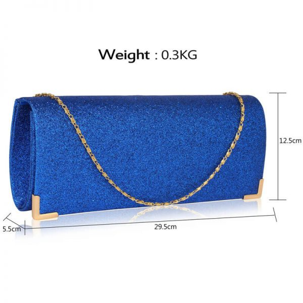 Blue Glitter Clutch Bag LSE00235_3_