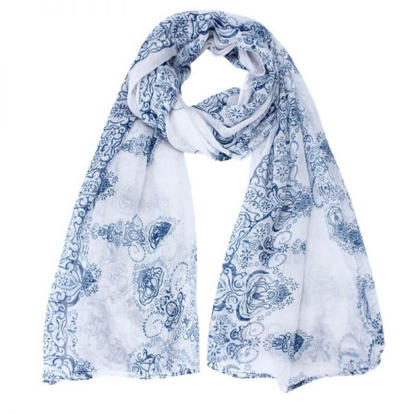 Blue Voile Material Scarf For Summer ASC44-