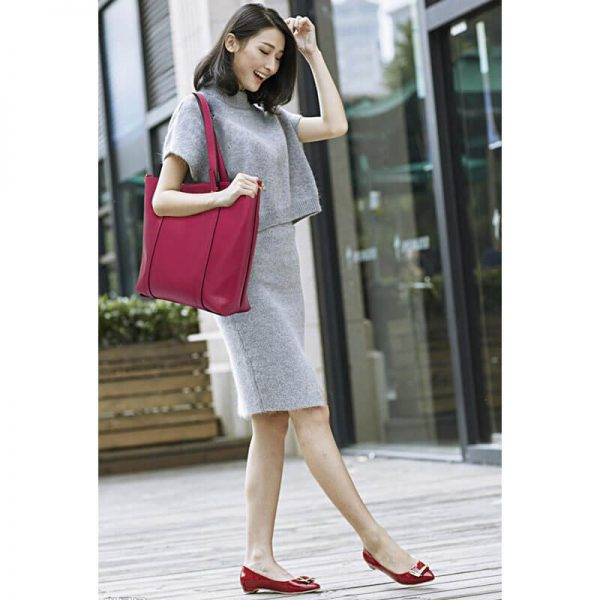 Burgundy Handbag For Women – LS00413_(9)