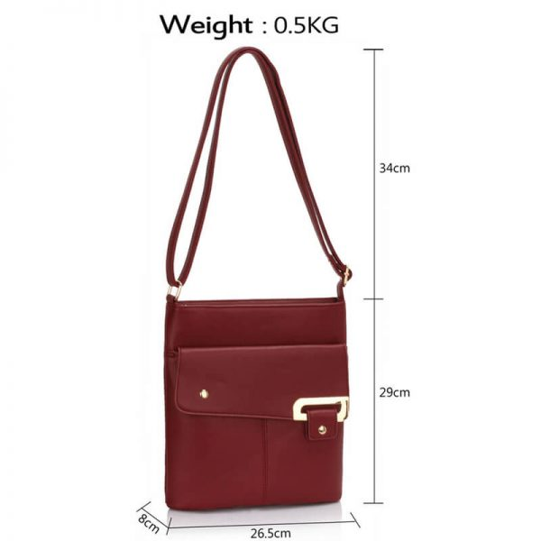 Burgundy Shoulder Cross Body Bag – LS00429_3
