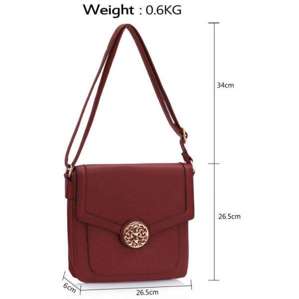 Burgundy Shoulder Cross Body Bag – LS0043_(3)