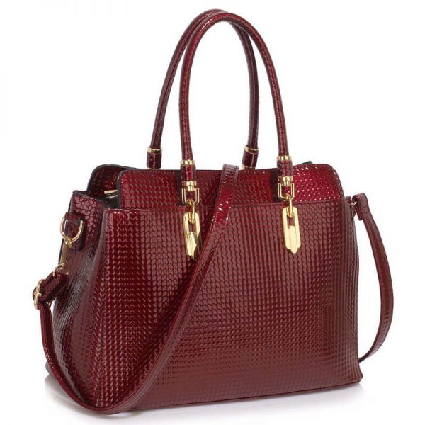 Burgundy Womens Tote Bag With Polished Hardware_(1)